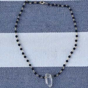 Jewelry - Onyx and crystal quartz point necklace